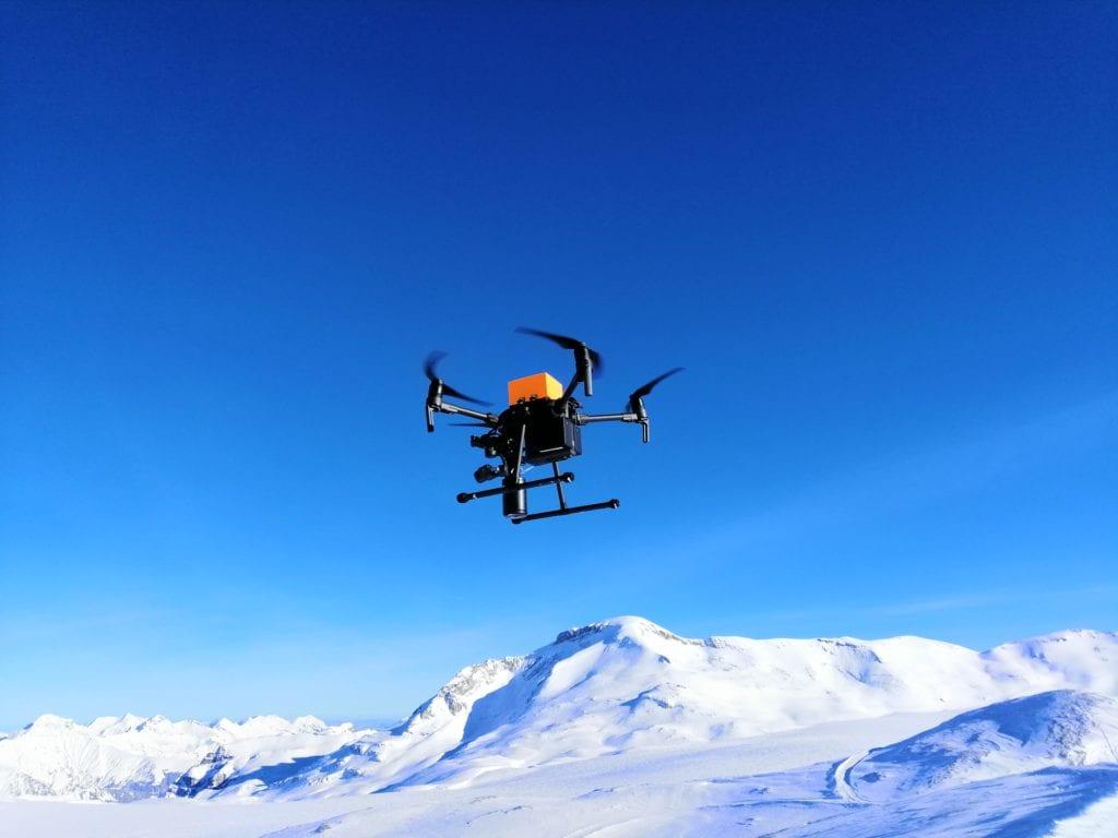 The drone flying at the Glacier de la Plaine Morte